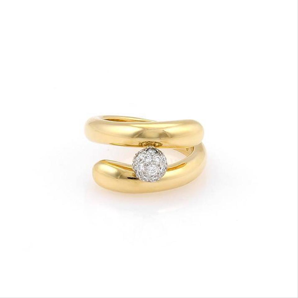 17305a090 Tiffany & Co. Pave Diamond 18K Yellow Gold & Platinum Bypass Ring Image 0  ...