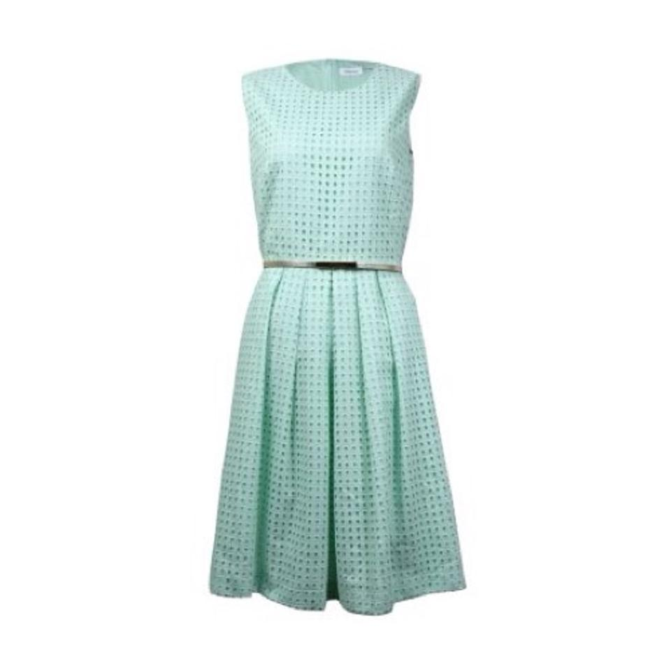 Calvin Klein Mint Eyelet Pleated Cotton Fit Flare Mid-length Night ...