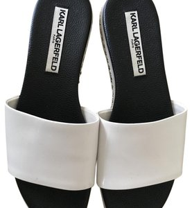 Karl Lagerfeld black leather and white patent leather Sandals