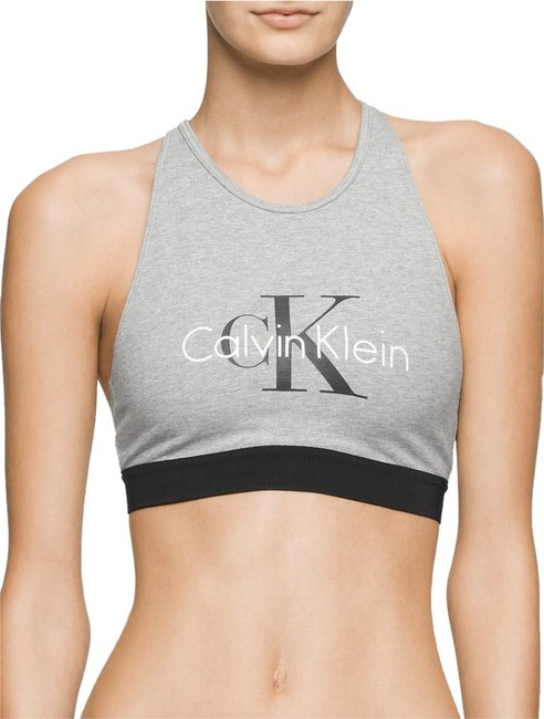 Item - Grey Retro Logo Bralette In Silver Activewear Sports Bra Size 4 (S, 27)