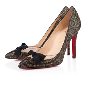 Christian Louboutin Bow Glitter Love Me Leather Metallic Black Pumps