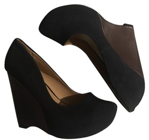 ShoeDazzle Black with Brown wedge Platforms