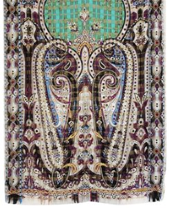 Etro NEW! Milano Italy Silk Paisley Long Scarf Purple Black Gold Green