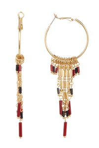 Free Press Free Press Beaded Fringe Hoop Earrings