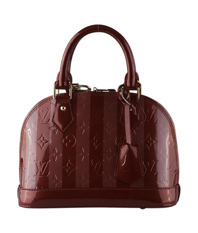 6079780bbbab Louis Vuitton Alma Bb Striped   Vernis (126289) Red Patent Leather ...
