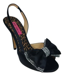 Betsey Johnson Ships In 24 Hours Bow Dress Embellished Bow Black Sandals