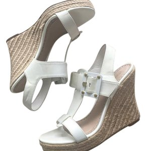 Charles David Leather Espadrille Summer White Patent Wedges
