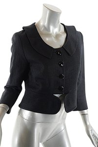 Chlo Cotton Cropped Weave Navy Jacket