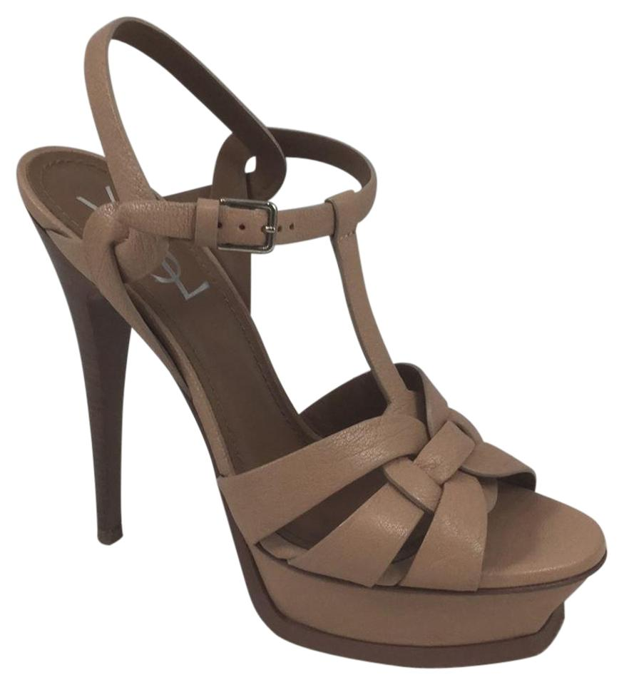 Saint Laurent Blush Nude Platforms Strappy Sandal Platforms Nude 0986dd