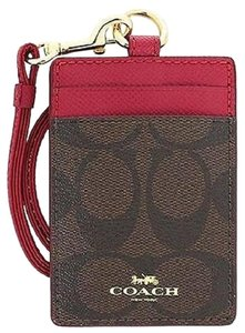 Coach Bi-Color Canvas Leather Lanyard ID Key Holder NWT $65 Brown True Red