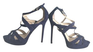Charles David Suede Dark Heels Midnight Blue Sandals