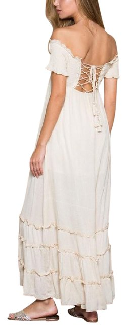 Item - Beige Girl Gauze Lace Up Off Draped Gown Long Casual Maxi Dress Size 14 (L)
