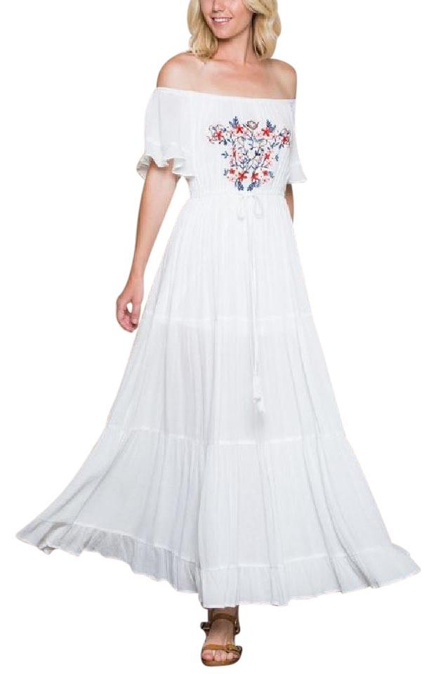 White Embroidered Off Shoulder Draped Gown Long Casual Maxi Dress ...