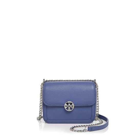 Shoulder Duet Chain Metallic Micro Marlin Blue Leather Cross Body Bag by Tory Burch