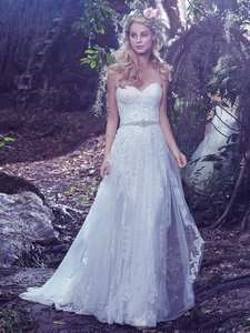 15b22f50e95 Maggie Sottero Ivory Tulle Bailey Formal Wedding Dress Size 8 (M ...