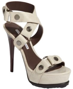 Vera Wang Lavender Label Studded Leather Beige Platforms