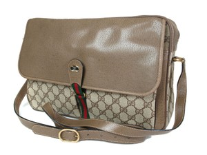Gucci Accessory Col Mint Vintage Gac #1227 School Satchel/Messenger W/Red/Green Satchel in brown large G logo print with red and green Shelly stripe accent