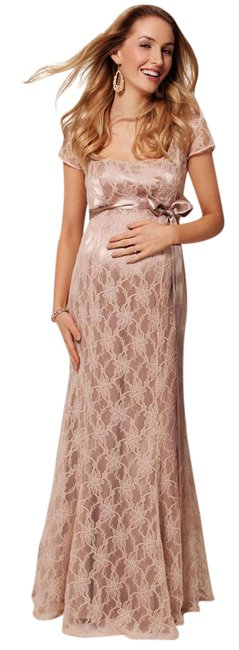 Item - Antique Rose/ Champagne/ Light Pink Eva Maxi Lace Maternity Gown Long Formal Dress Size 4 (S)