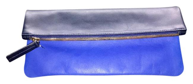 Item - Flat Foldover Reversible Navy and Cobalt Blue Leather Clutch