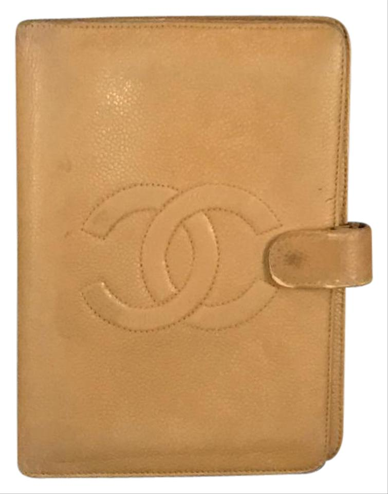 244bb459903f8 Chanel Beige Caviar Leather 6 Rings Large Agenda Mm Wallet - Tradesy