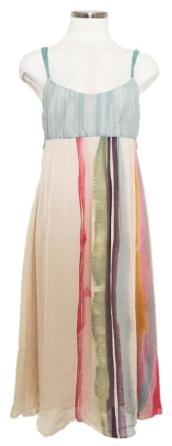 Item - Red Blue Beige Taupe Multi-color Silk Mid-length Cocktail Dress Size 6 (S)