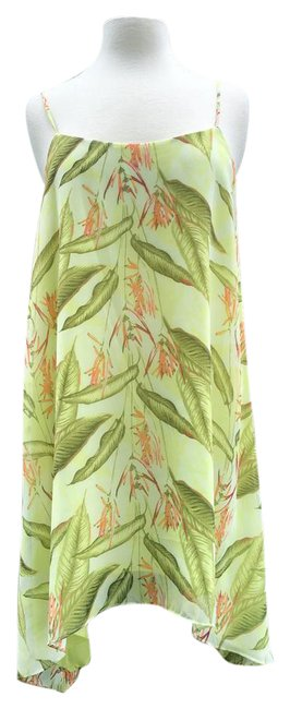 Item - Green Lime Tropical Spaghetti Strap Hankerchief Skirt Mid-length Cocktail Dress Size 6 (S)