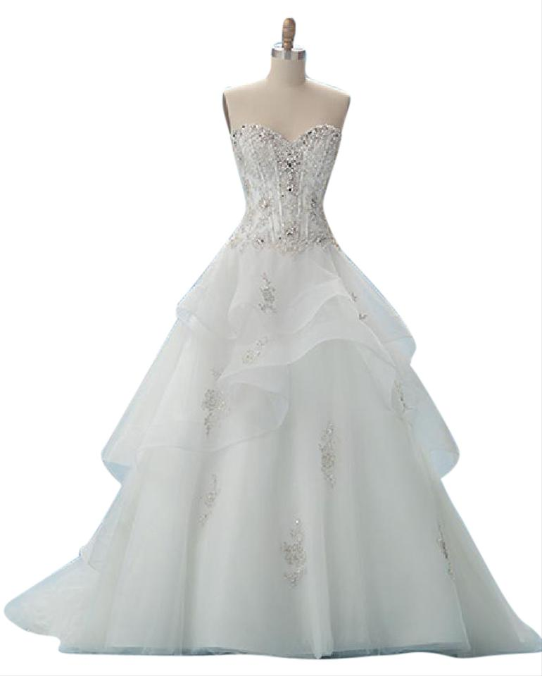 a58a2fe97f4 Alfred Angelo Ivory Metallic Satin with Tulle Skirt 217 - Belle Formal Wedding  Dress Size ...