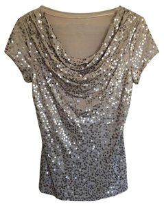 INC International Concepts Sequin Top Misty Beige