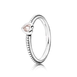 PANDORA One Love Stackable Ring with Pink Stone