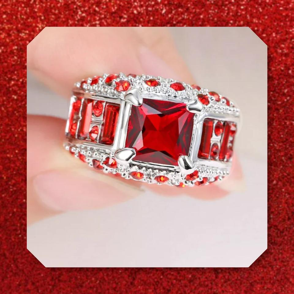 Red and Silver New Lab Created Rubies 14k White Gold Filled Ring ...