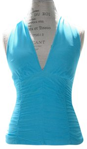 Necessary Objects Blouse Tank Rouched Sky Blue Halter Top