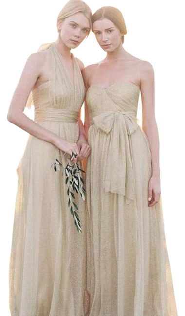 Item - Gold Tulle Annabelle Formal Bridesmaid/Mob Dress Size 4 (S)