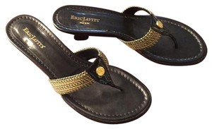 Eric Javits Black and Gold Sandals