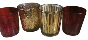 Gold Lattice Gold Stripe Red & Clear Burgundy Votive/Candle