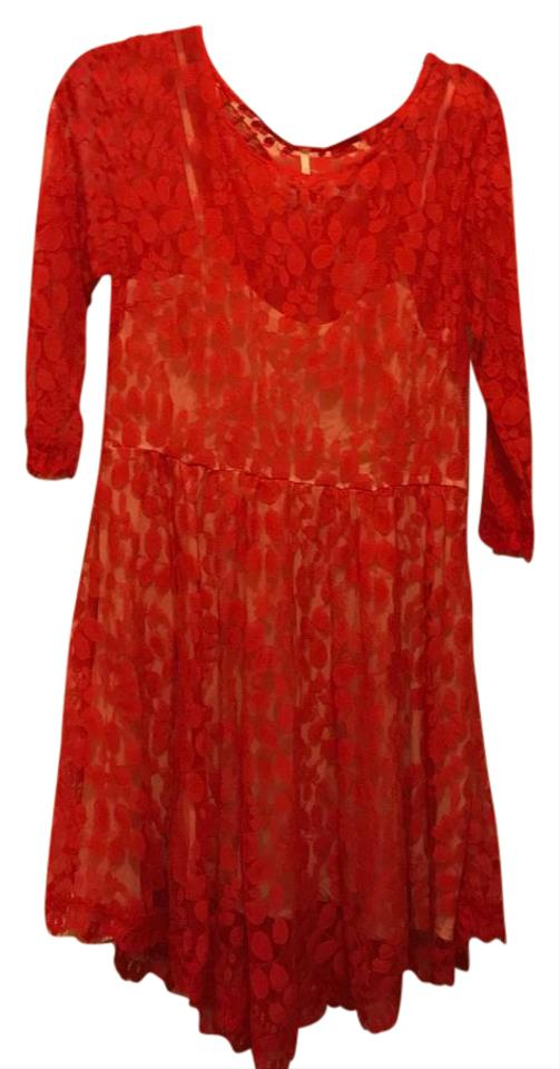 Free People Red Lace Fit and Flare Mid-length Cocktail Dress Size 12 ...