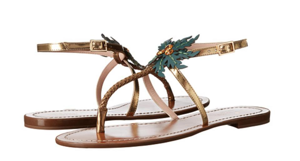 58a2cbc72035 Kate Spade Gold New Solana Palm Tree Sandals Size US 9.5 Regular (M ...