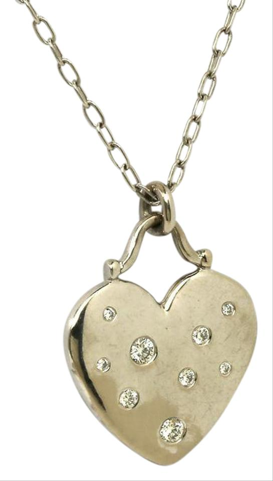 Tiffany co white gold etoile diamond heart pendant chain necklace tiffany co etoile diamond 18k white gold heart pendant chain necklace aloadofball Image collections