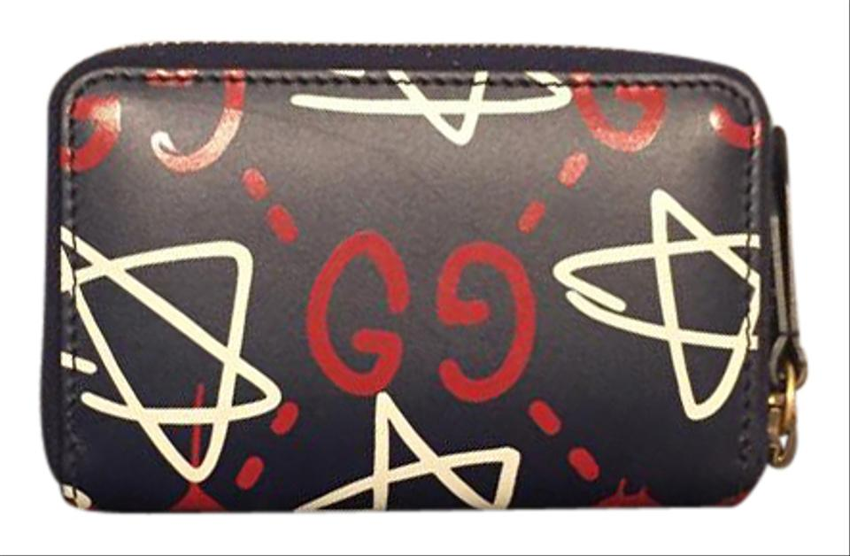 9d495d1782ef Gucci Ghost Black Red Blue Card Case Wallet - Tradesy