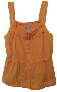 Odille Anthropologie Cotton Tank Lace Small Top Orange