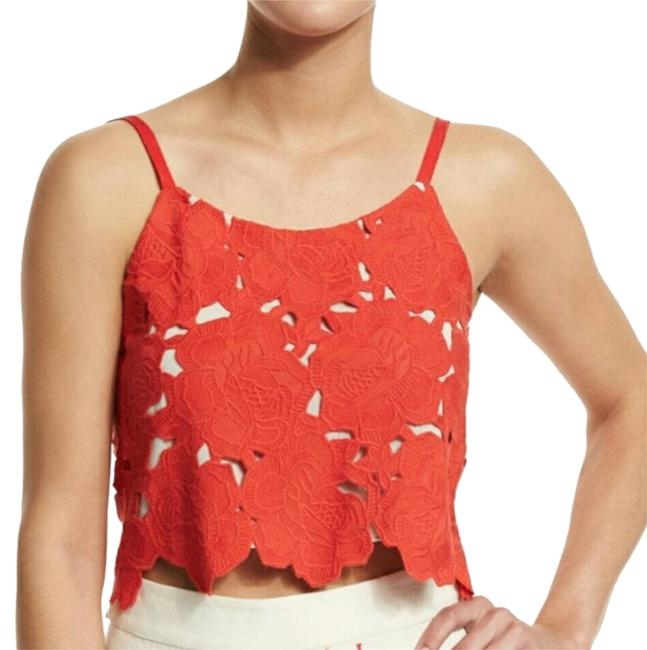 Alice olivia sleeveless embroidered rose crop top red