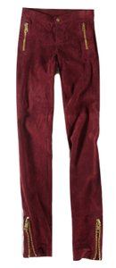 Gucci Leather Suede Leggings Skinny Pants Wine, Red
