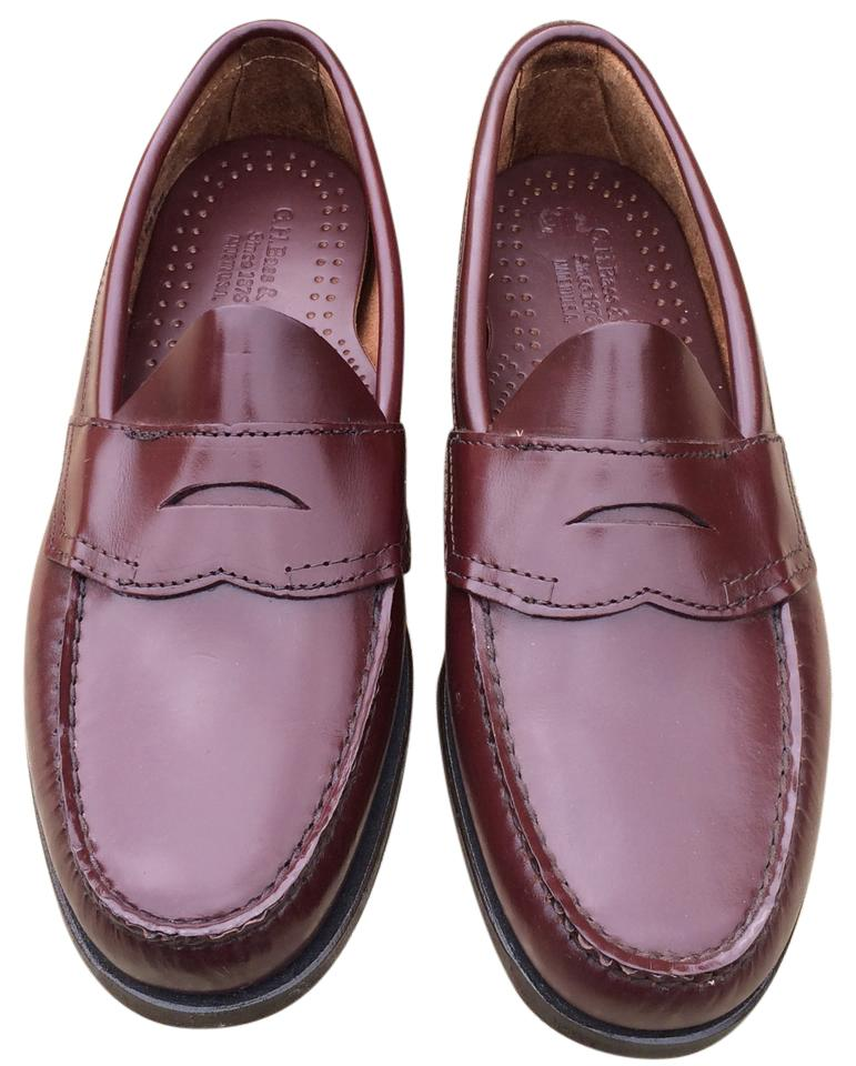 ad6f042166e G.H. Bass   Co. Burgundy Bradford Penny Loafer Men s Flats Size US ...