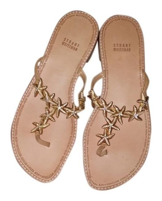 Item - Tan All Leather with Gold Starfish Sandals Size US 8 Regular (M, B)