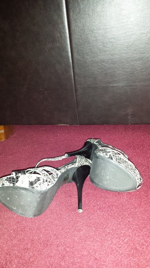 Charlotte Russe Black Grey and White Mules