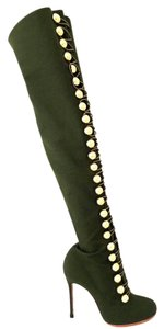 Christian Louboutin Pigalle Black Thigh High Zanotti Spikes Studs Green Boots