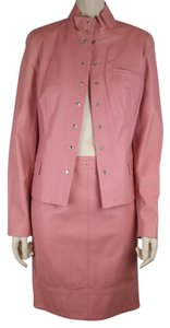 Piazza Sempione Leather Skirt Exposed Zipper PINK Jacket