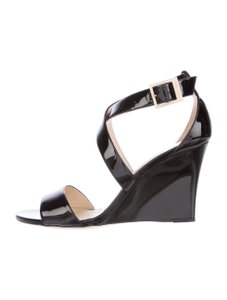 Jimmy Choo Patent Leather Fearne Black Wedges