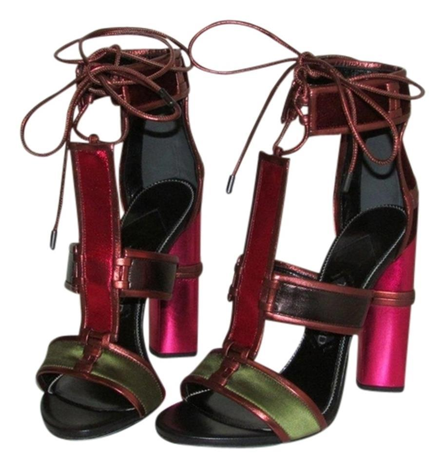 4c1464d499ef6b Tom Ford Metallic Velvet Strappy Patchwork Sandals Size US 7 Regular ...