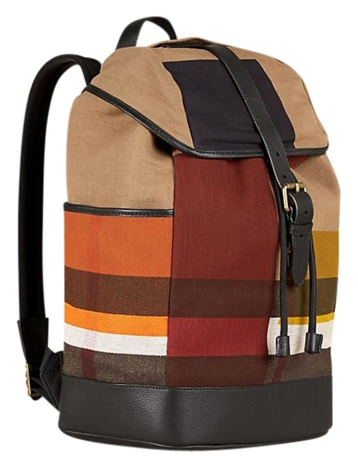 burberry sale new colour block check multicolour canvas leather backpack tradesy. Black Bedroom Furniture Sets. Home Design Ideas