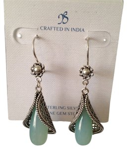 JS Collections Amazonite Teardrop Gemstone & Sterling Silver Earrings